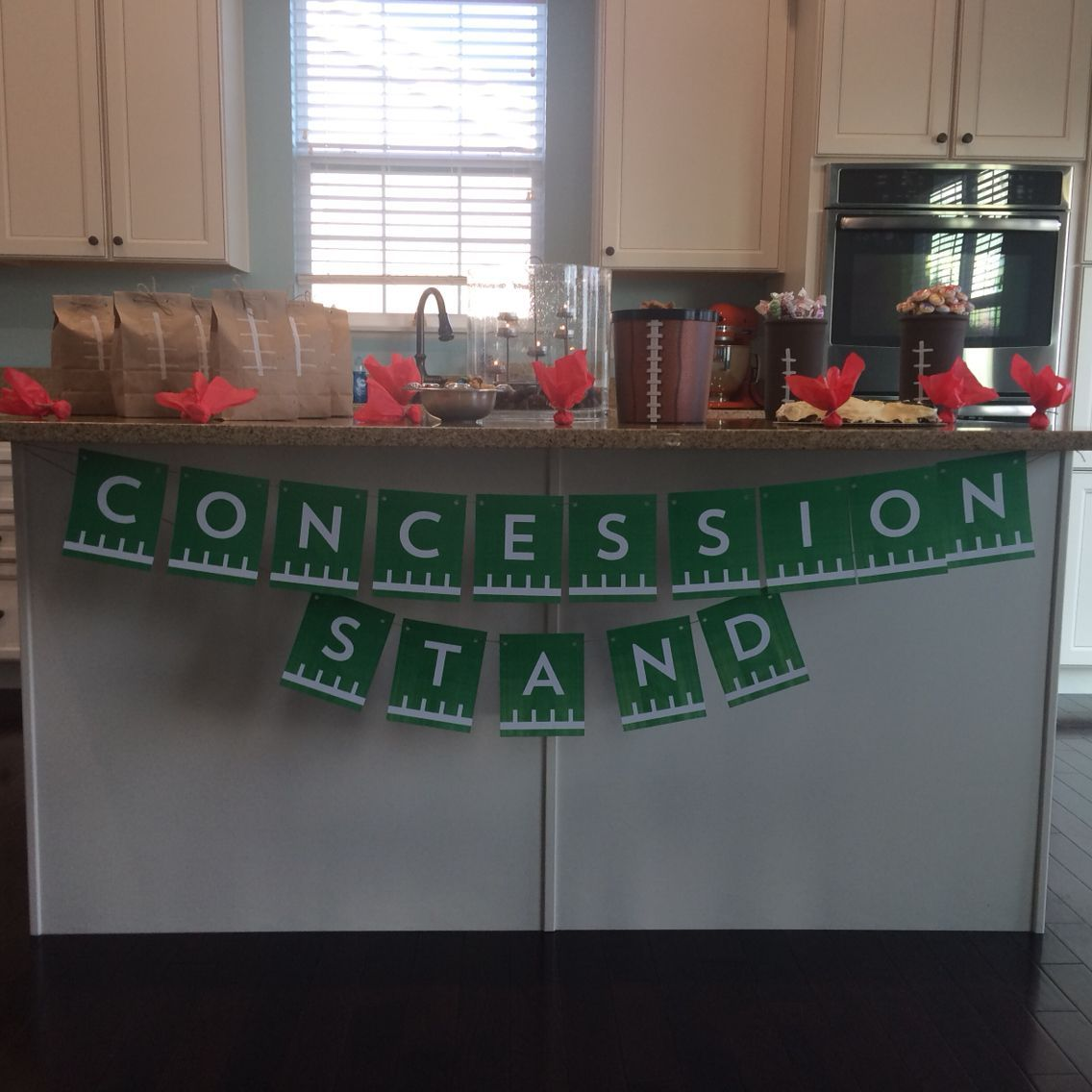 Game day decorations concession stand and football paper