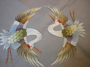 Japanese embroidered cranes