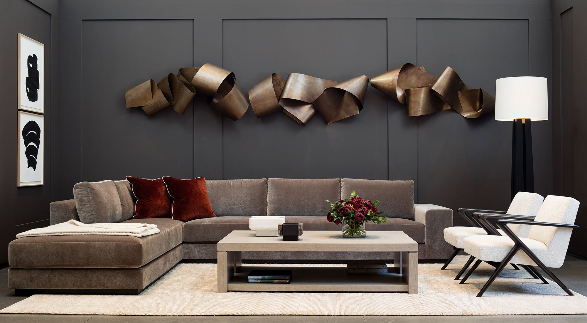 Holly hunt modern metal wall sculpture in contemporary - Picture wall ideas for living room ...