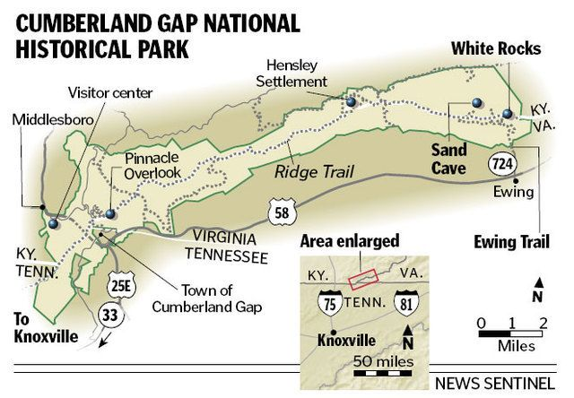 Cumberland Gap Hiking Trail Maps Hike Of The Month White Rocks Sand Cave Are Impressive Markers On Cumberland Gap Cumberland Gap National Park Cumberland