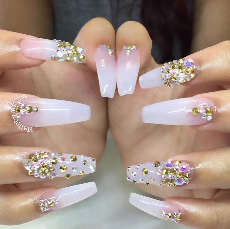 Long White Coffin Nails With Gold Designs Nailswag Nailsart