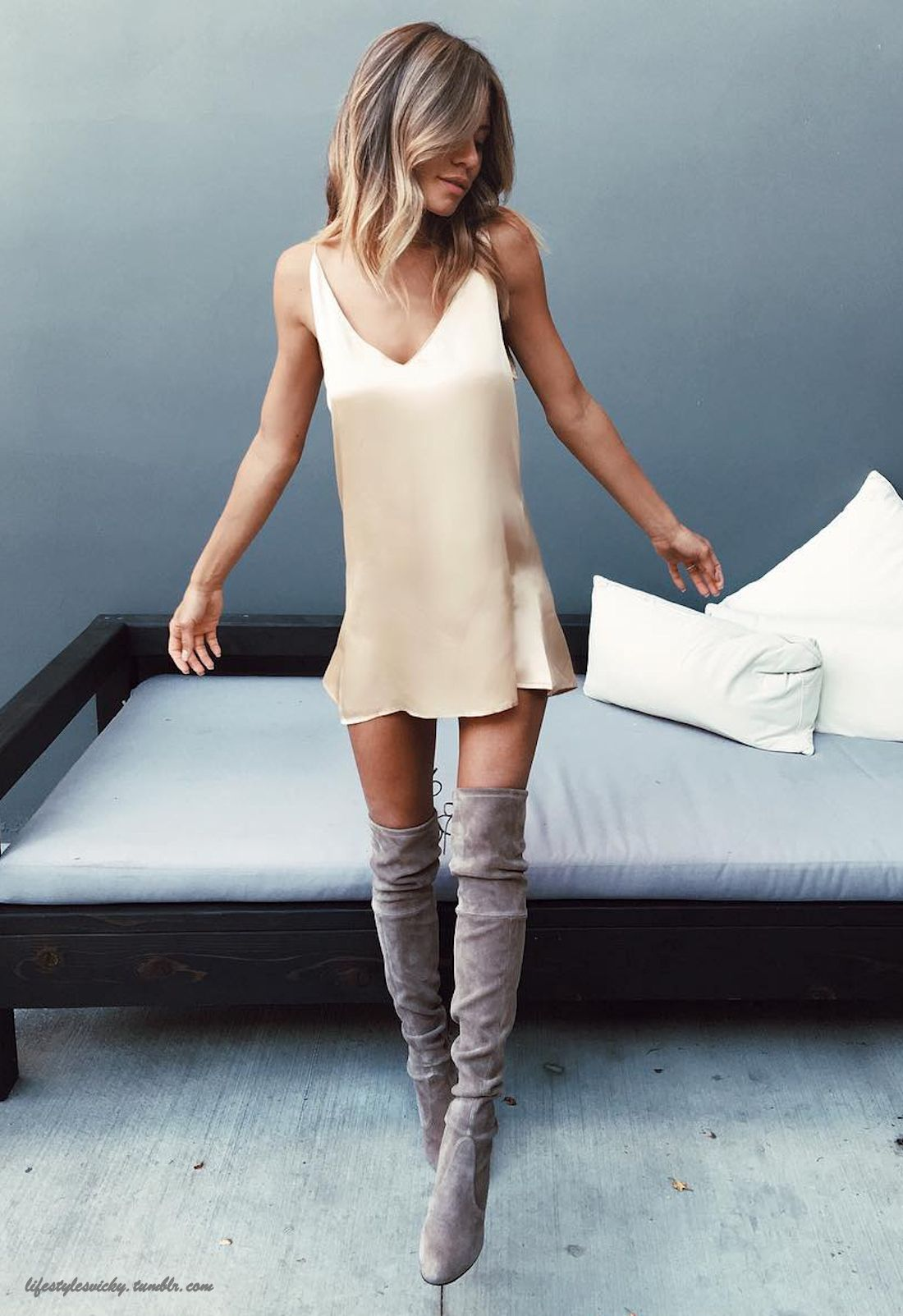 Slip dress + thigh high boots Follow for more posts daily! 23,000 ...
