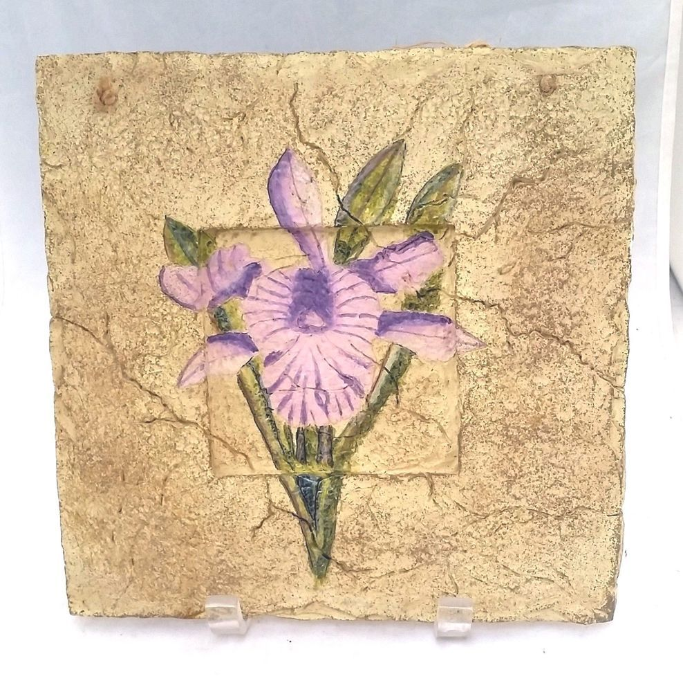 Iris flower resin wall plaque hand painted pink purple green over ...