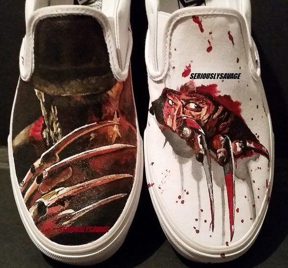 24ae4a7296ccff Freddy Krueger Nightmare On Elm Street Custom Painted Classic Horror Movies Vans  Converse Toms shoes