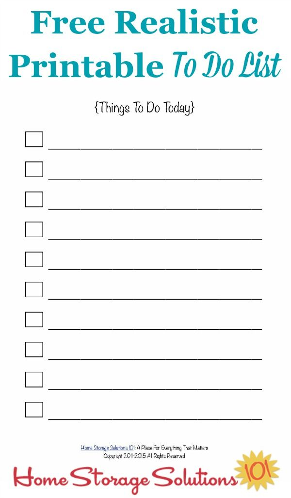 free realistic printable to do list for your day with a limited number of possible entries to help you prioritize and get everything done courtesy of home