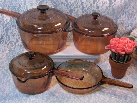 1980s Tupperware Vintage Corning Pyrex Brown Visions Visionware Glass Cookware Set Best Cooking Utensils Plastic Kitchen Utensils Cool Kitchens
