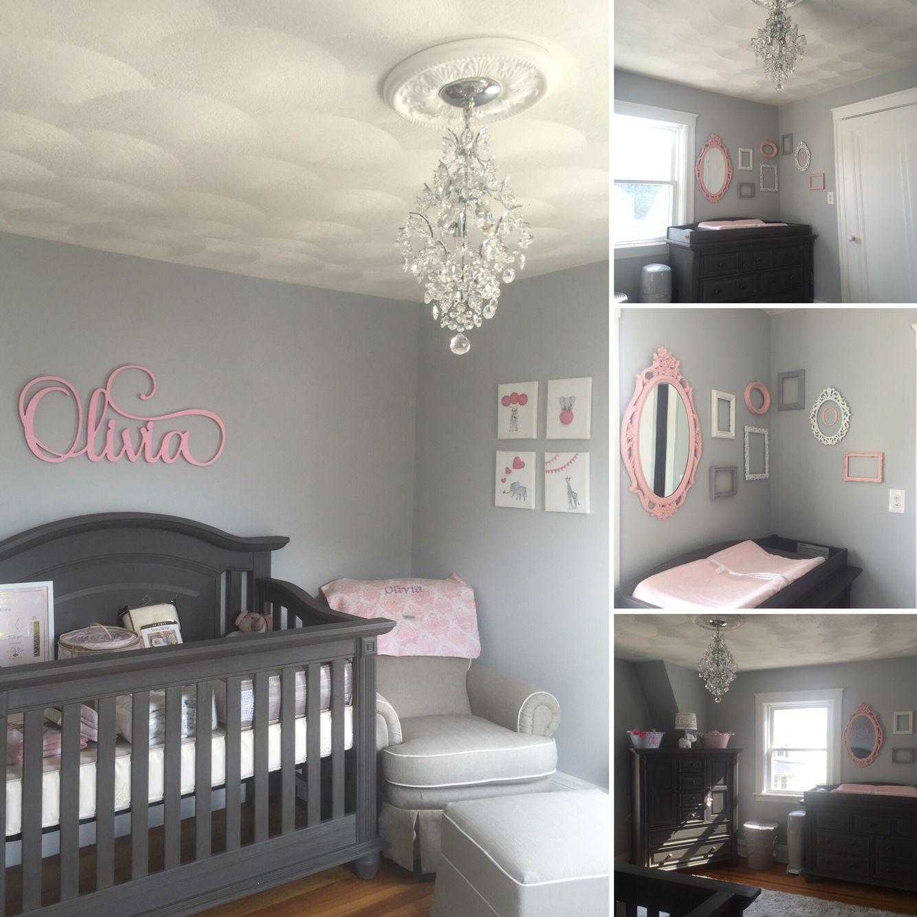 Grey White And Pink Nursery Baby Girl Nursery Pink Nursery Baby