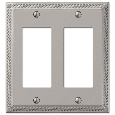 Amerelle Georgian 2 Gang Satin Nickel Decorator Rocker Metal Wall Plate Home Garden Lighting Accessories Plates On Wall Metal Casting Plates