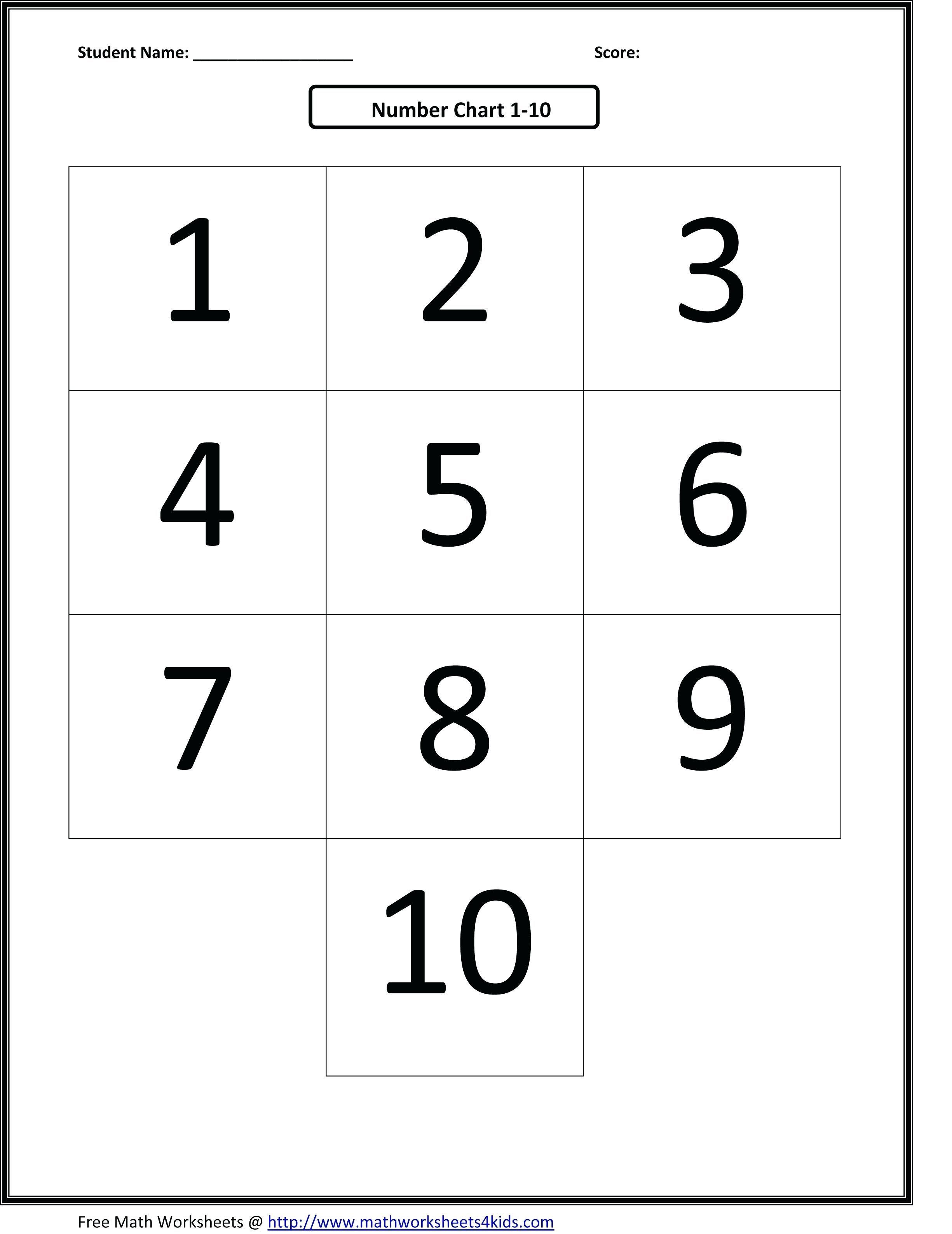Free Number Tracing Worksheets 1 10 Kindergarten Number