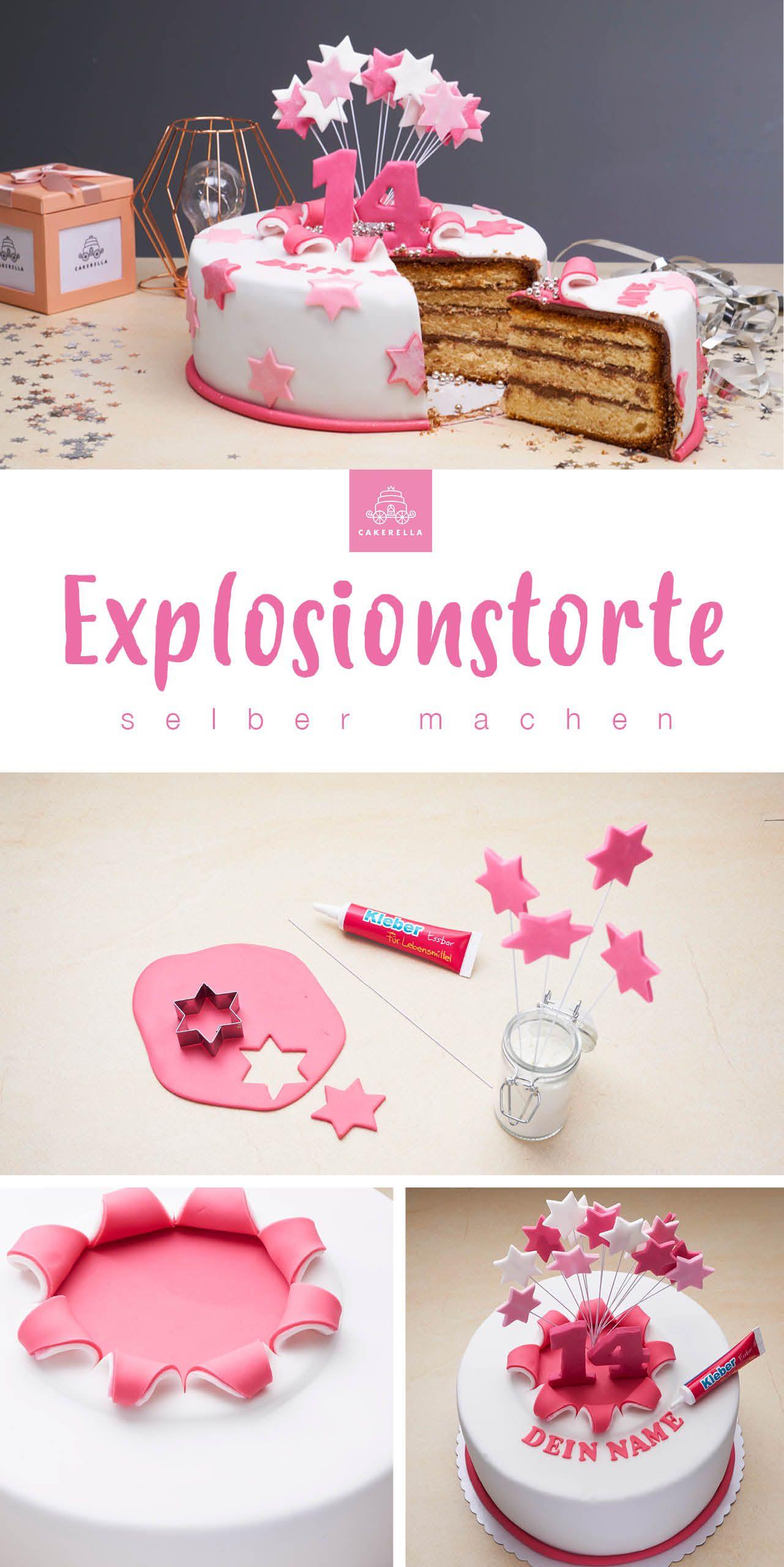 Die Explosionstorte zum selbermachen mit dem Backset von Cakerella. Jetzt Lieblingsbackset auf 'www.cakerella.de' aussuchen, Backbox schicken lassen, Backen & Dekorieren. #cakerella #diy #doityourself #selbermachen #backset #backbox #torte #motivtorte #fondanttorte #fondant #selbermachen #backen #explosiv #explosionstorte #tortegeburtstag