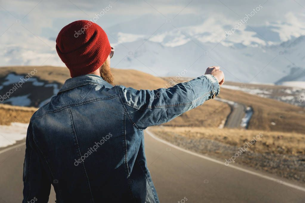 Tourism and people concept - stylish hipster walking along country road outdoors , #spon, #concept, #stylish, #Tourism, #people #AD