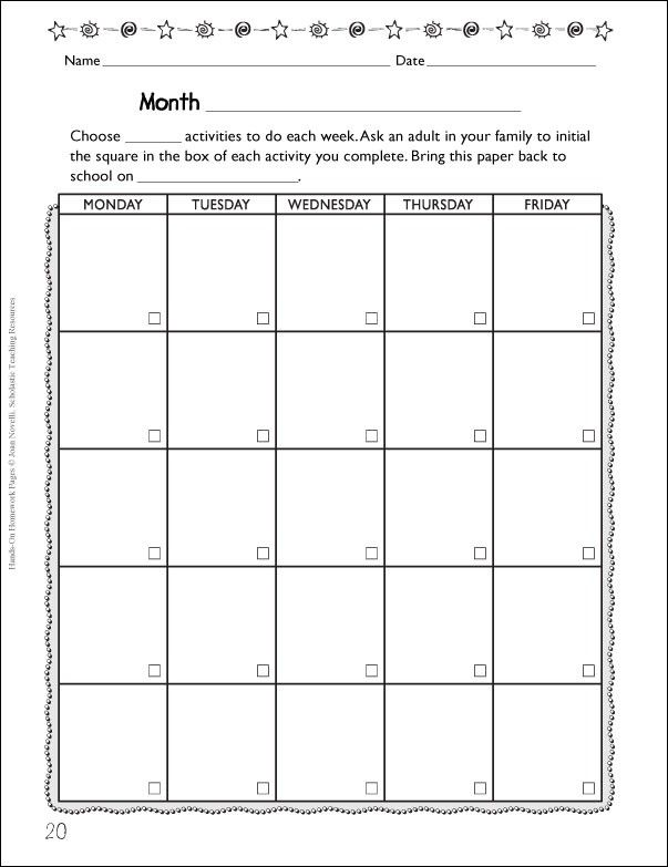 Blank Monthly Activity Calendar Vocabulary Pinterest Blank - homework calendar templates