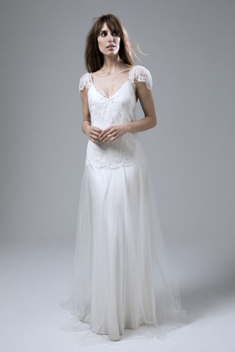 Fifi french lace and silk tulle wedding dress by halfpenny london
