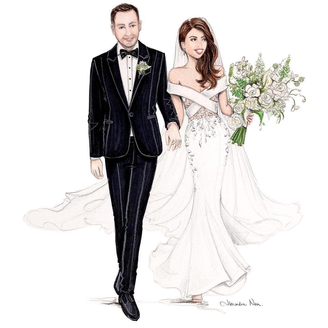 Este Posibil Ca Imaginea Să Conţină 2 Persoane Bride And Groom Silhouette Wedding Dress Sketches Wedding Illustration