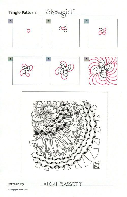Showgirl~Zentangle doodles how to Tangle: Pattern Tutorial