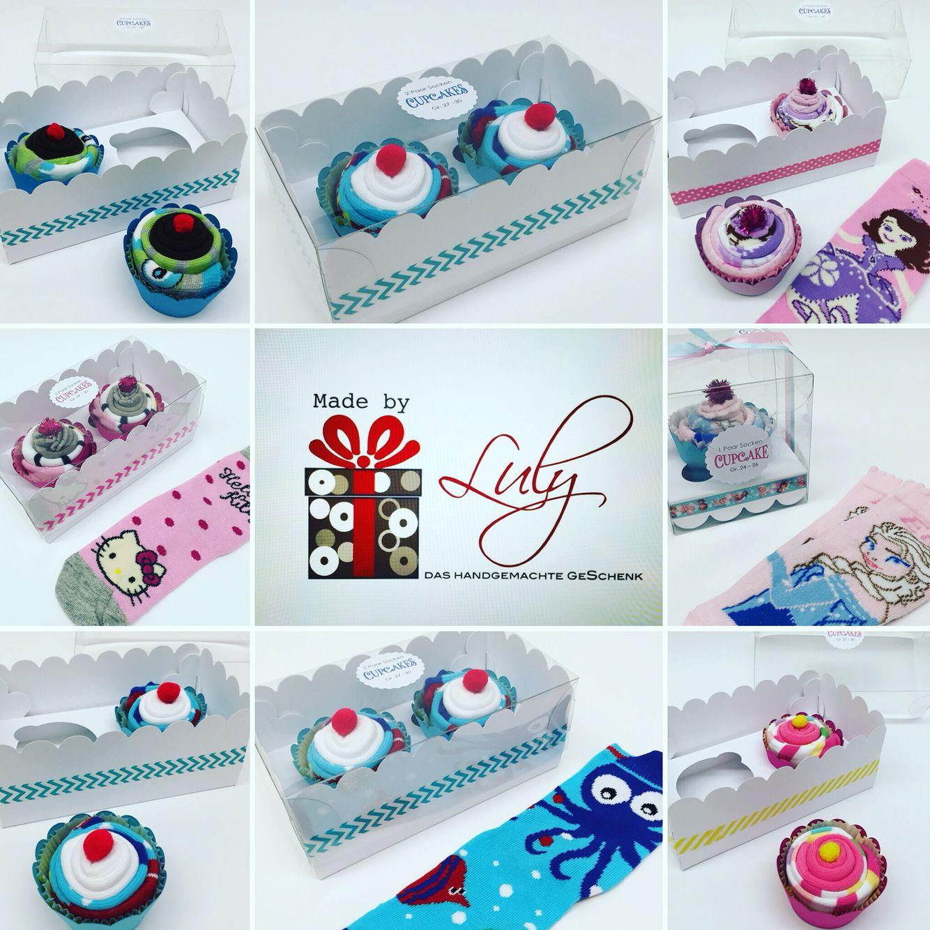 Cupcakes aus Kindersocken handgemachte Geschenk www.facebook.com/madebyLuly