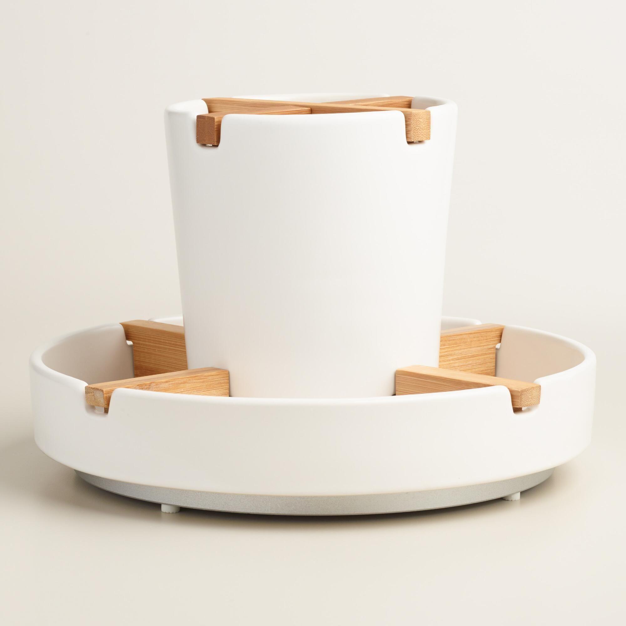 Download Wallpaper Matte White Kitchen Utensil Holder
