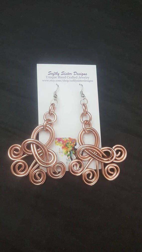 Custom Colors Wire Earrings, Wire Wrapped Earrings, Aluminum Wire ...