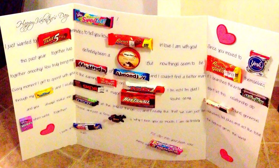 valentine card with candy