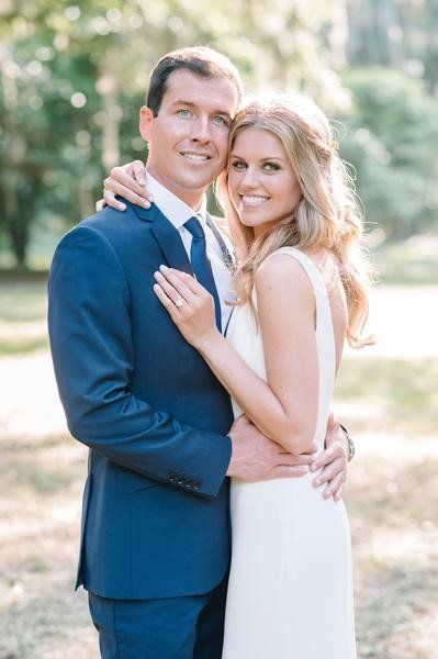 """Jessica + Patrick's Charleston elopement was the epitome of southern charm.Jessica chose to wear our """"Devon"""" gown, a simple and classic…"""