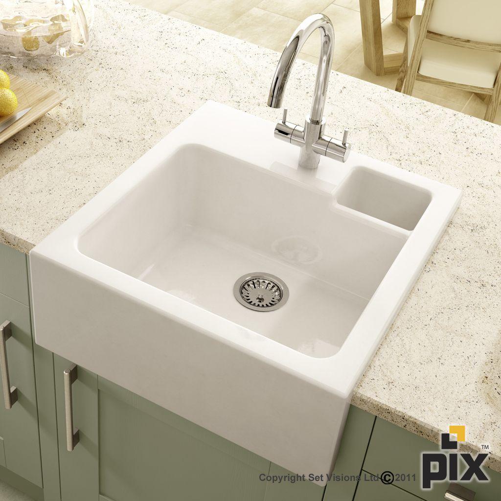 Butler Sink Detail Shot Quartz Worktop And Painted Green Shaker Doors Ceramic Kitchen Sinks White Ceramic Kitchen Sink Butler Sink