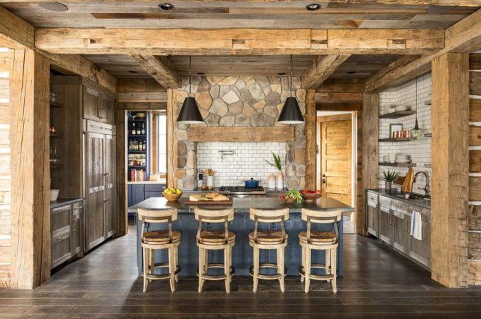 barra cocina, ejemplo de cocina abierta al salón con barra en el ...