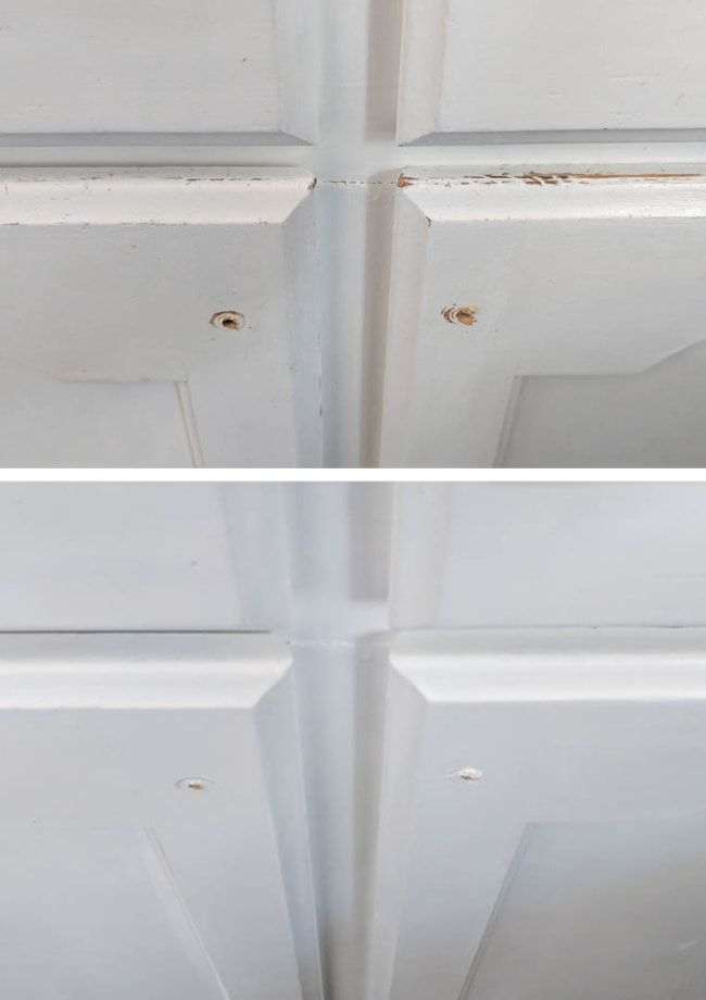 How to Touch Up Chipped Cabinet Paint - Lovely Etc. in ...