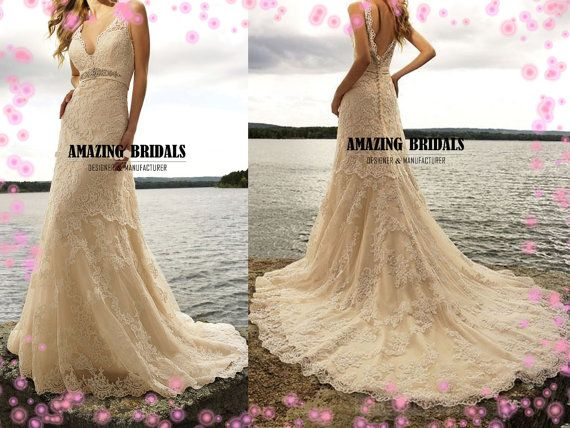 Luxurious lace appliques wedding dress v shaped neckline empire