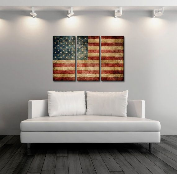 Triptych Vintage American Flag Panel Canvas Art America Gift Ideas Wall Decor Print By On Etsy