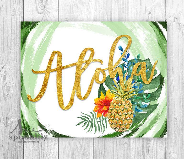 Aloha Typography Art Print, Aloha Sign, Aloha Tropical Wall Decor ...