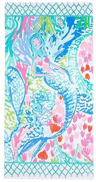 Lilly Pulitzer Mermaid Cove Kid Beach Towel Lily