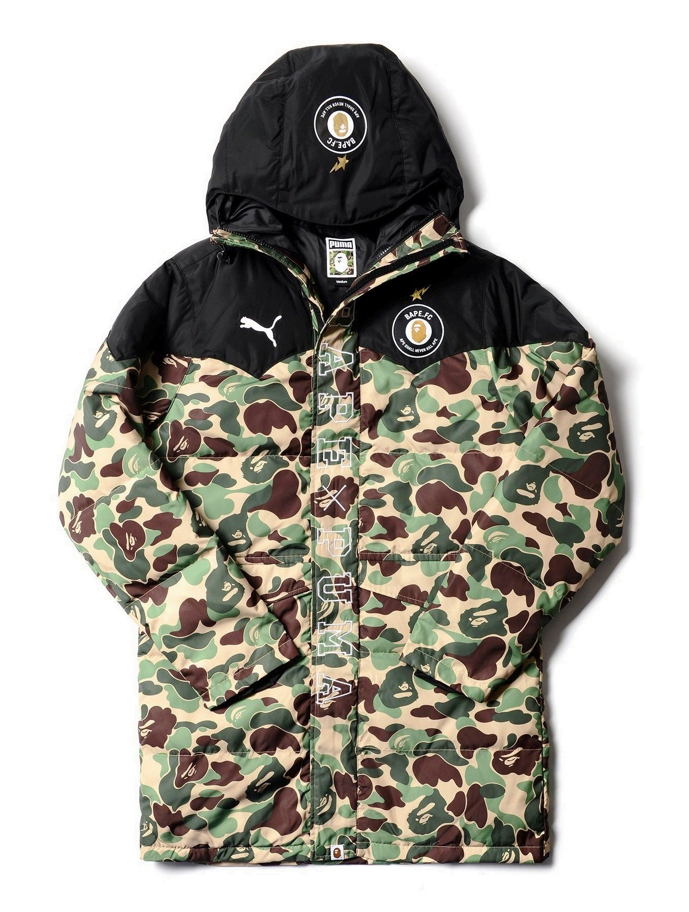 5cfbd1a9feac85 BAPE X Puma Long Camo Jacket Military Men s and Women s Parka A Bathing Ape  Camouflage Coat