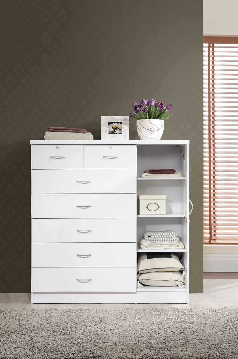 Hodedah 7 Drawer Dresser With Side Cabinet Equipped With 3 Shelves White Walmart Com In 2020 7 Drawer Dresser Dresser Shelves Dresser Drawers