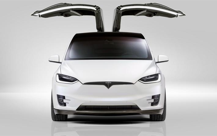 Indir duvar kağıdı 4k, Tesla Model X, 2017 arabalar