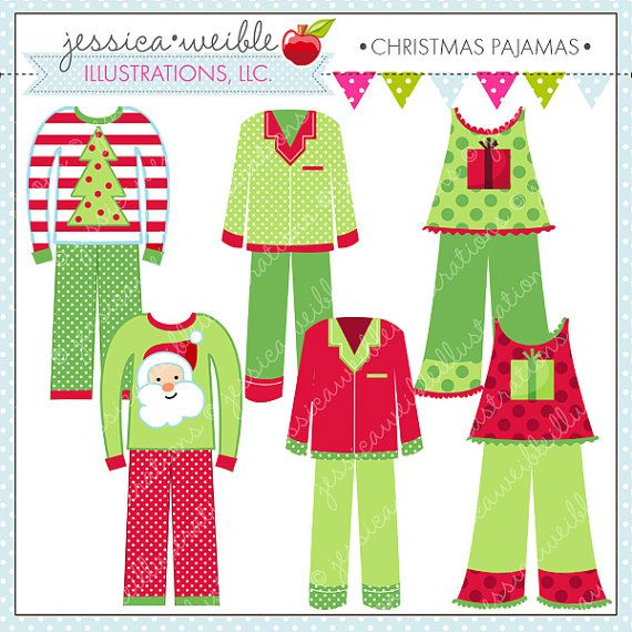 Christmas Pajamas Cute Digital Clipart for by JWIllustrations da261f05c