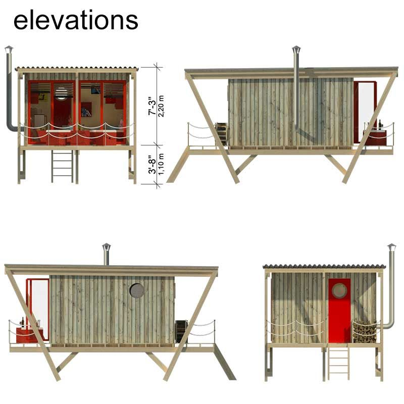 Elevated tiny house plans with construction process plete set