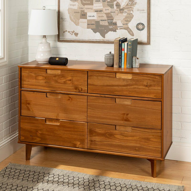 Mid Century Modern Caramel Brown Dresser Sloane In 2020 Wood