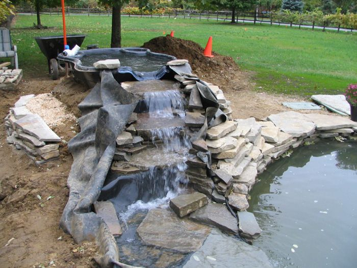 Koi pond construction pictures backyard pond and for Garden pond design and construction