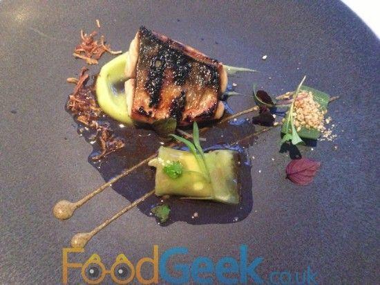 Flame Grilled Mackerel, Pickled Cucumber, Celtic Mustard & Shiso At The Ledbury, London