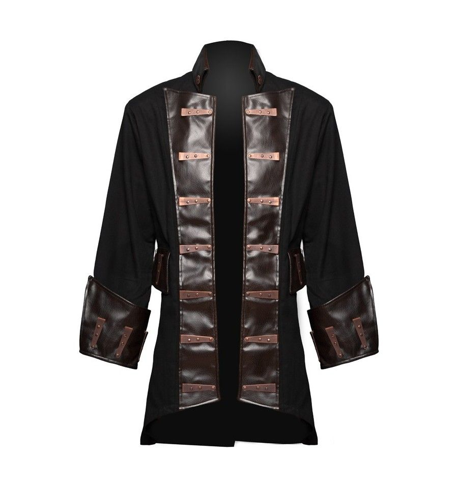 Gothic steampunk pirate jacket for men, by Raven clothing
