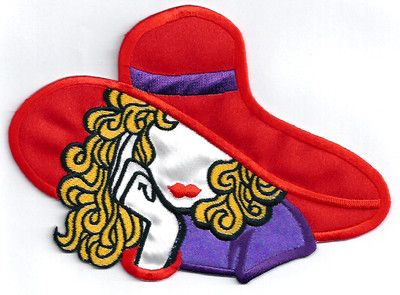 Iron on Applique//Embroidered Patch Fashion Purple//Red Hat Society
