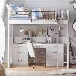 Chelsea Vanity Loft Bed Pbteen Beds Loftbedroom Loft Beds For Teens Girls Loft Bed Loft Desk