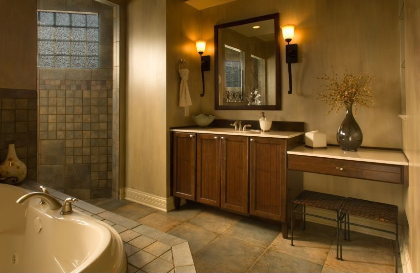 Craftsman Master Bathroom with Corian counters, Slate Tile: Autumn Lilac, Master bathroom, Flat panel cabinets, Wall sconce