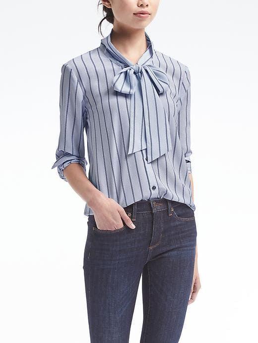 9826976621 Banana Republic Womens Dillon-Fit Stripe Tie-Neck Shirt Light Blue Stripe