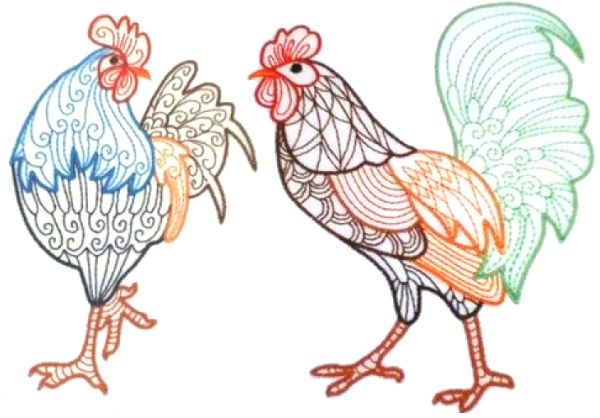 sanity roosters   Here are some colorwork embroidery designs perfect for crayon coloring: