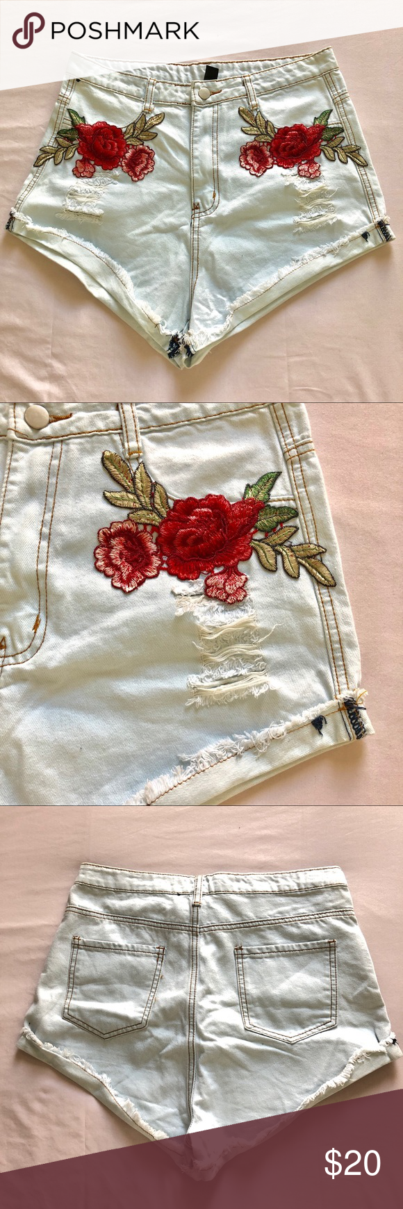 White washed very light blue denim shorts New without tags light washed blue shorts with red embroidered flowers. Has some stretch making them very comfortable Windsor Shorts Jean Shorts #lightblueshorts