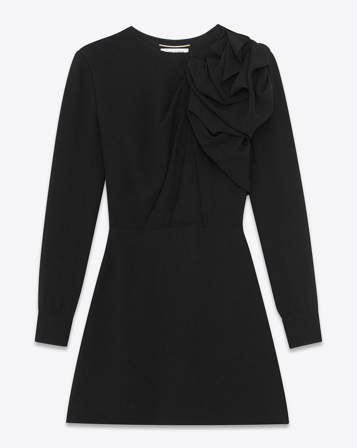 saintlaurent, Classic Gathered Shoulder Flare Mini Dress in Black Sablé