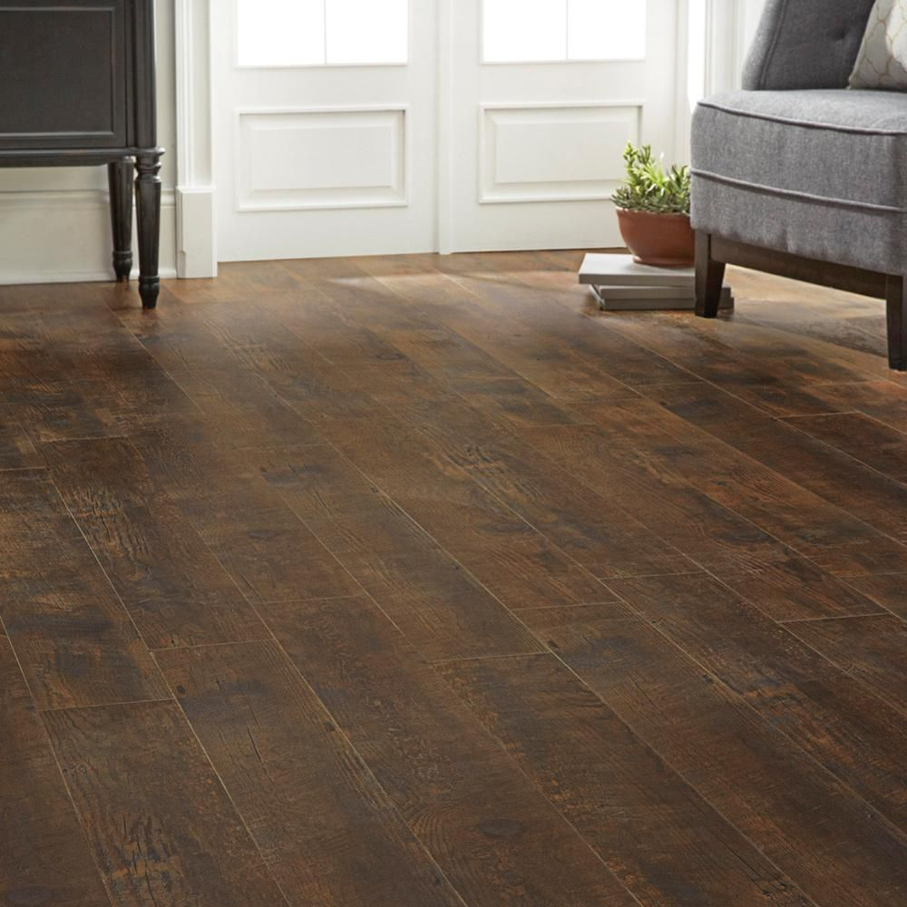 Home Decorators Collection Medora Hickory 12 Mm Thick X 6 7/16 In. Wide X  47 3/4 In. Length Laminate Flooring (17.08 Sq. Ft. / Case), Dark