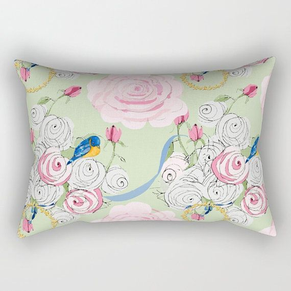 Rectangle Throw Pillow Bluebirds And Pink Roses On By Frenchscript Throw Pillows Pillows Blue Bird