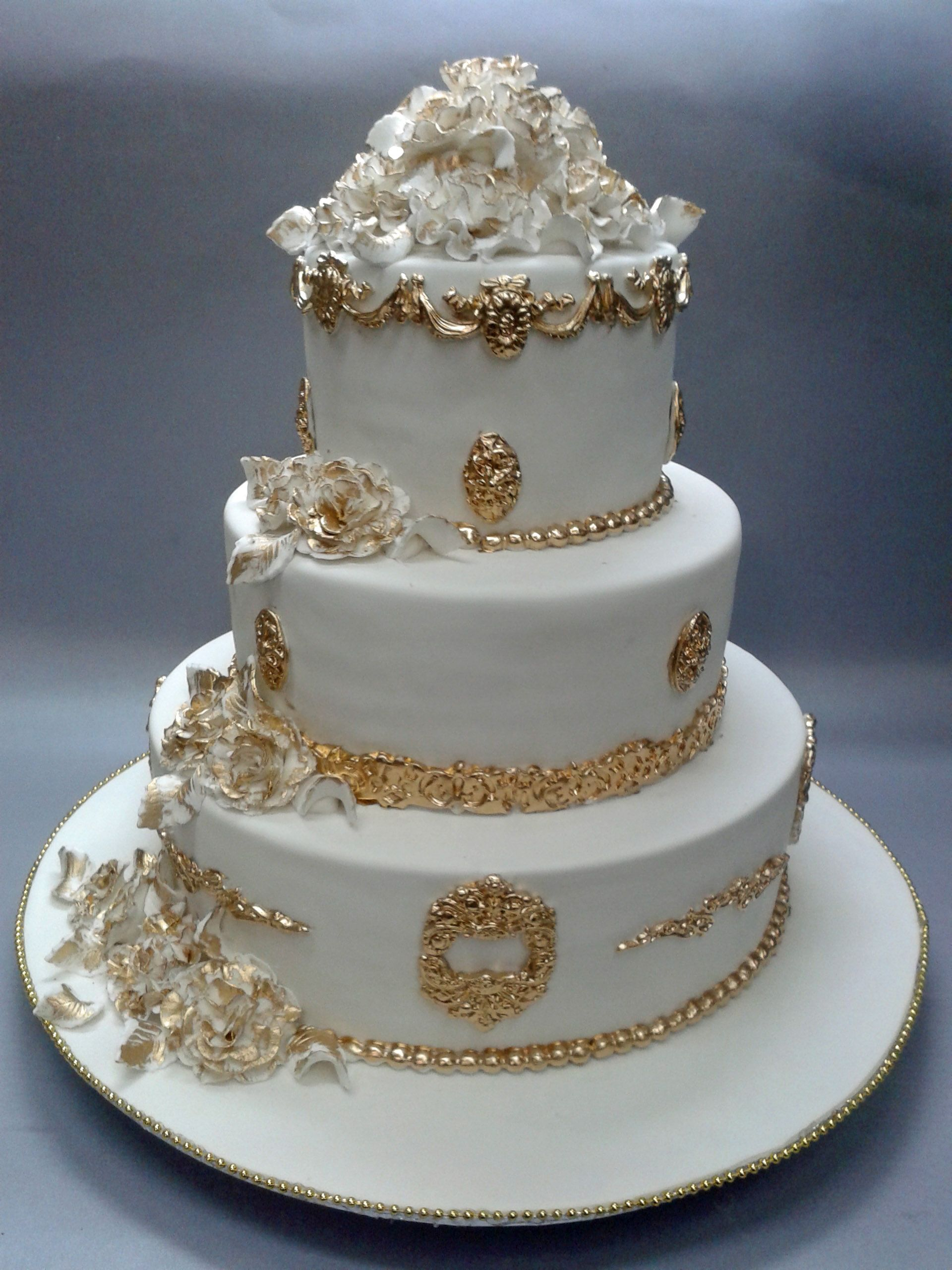 Rustic white amp gold for christian s baptism cake cakes dessert - A Luxury Collection Wedding Cake From Bunty Mahajan S Signature Range